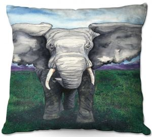 Decorative Outdoor Patio Pillow Cushion | Brazen Design Studio - Defiant | elephant animal nature creature