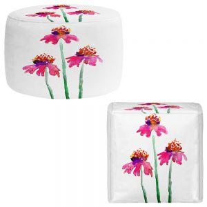 Round and Square Ottoman Foot Stools   Brazen Design Studio - Echinacea Flowers