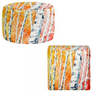 Round and Square Ottoman Foot Stools | Brazen Design Studio - Falling For Colour Birch Trees