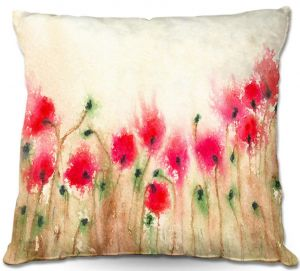 Unique Throw Pillows from DiaNoche Designs by Brazen Design Studio - Field of Poppies   20X20