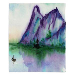 Decorative Fleece Throw Blankets | Brazen Design Studio - Fishing at Dawn | Landscape serene lake water mountain