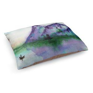 Decorative Dog Pet Beds | Brazen Design Studio - Fishing at Dawn | Landscape serene lake water mountain