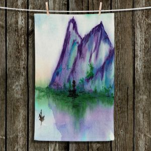 Unique Hanging Tea Towels   Brazen Design Studio - Fishing at Dawn   Landscape serene lake water mountain
