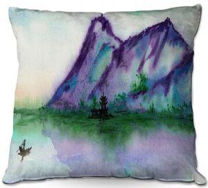 Decorative Outdoor Patio Pillow Cushion   Brazen Design Studio - Fishing at Dawn   Landscape serene lake water mountain