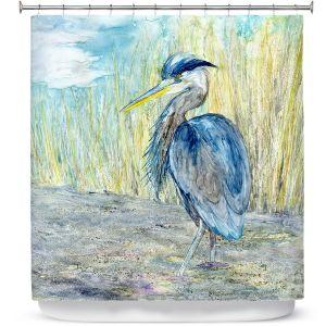 Unique Shower Curtain from DiaNoche Designs by Brazen Design Studio - Great Blue Heron