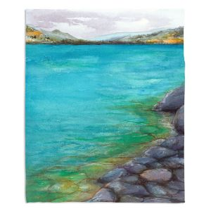 Decorative Fleece Throw Blankets | Brazen Design Studio - Kalamalka Lake | water nature shore