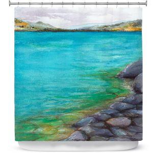 Premium Shower Curtains | Brazen Design Studio - Kalamalka Lake | water nature shore