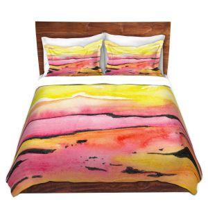 Artistic Duvet Covers and Shams Bedding | Brazen Design Studio - Land Lines | Nature Mountains Landscape