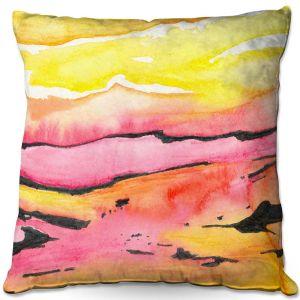 Decorative Outdoor Patio Pillow Cushion | Brazen Design Studio - Land Lines | Nature Mountains Landscape
