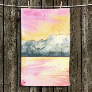Unique Hanging Tea Towels | Brazen Design Studio - Okanagan Sunrise | Nature Mountains Lakes