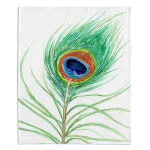 Decorative Fleece Throw Blankets | Brazen Design Studio - Peacock Feather
