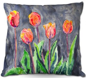 Unique Throw Pillows from DiaNoche Designs by Brazen Design Studio - Tulips   18X18