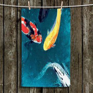 Unique Hanging Tea Towels | Brazen Design Studio - Water Ballet Koi Fish | Pond Fish Water