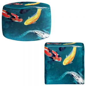 Round and Square Ottoman Foot Stools | Brazen Design Studio - Water Ballet Koi Fish