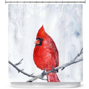Premium Shower Curtains | Brazen Design Studio - Winter Cardinal
