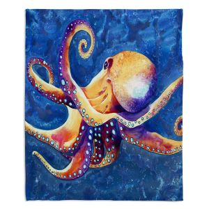 Decorative Fleece Throw Blankets | Brazen Design Studio - Adrift Octopus