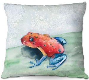Unique Throw Pillows from DiaNoche Designs by Brazen Design Studio - Blue Jean Frog   20X20