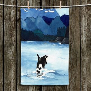 Unique Hanging Tea Towels | Brazen Design Studio - Orca Beach | Killer Whale Mountains Ocean Nature