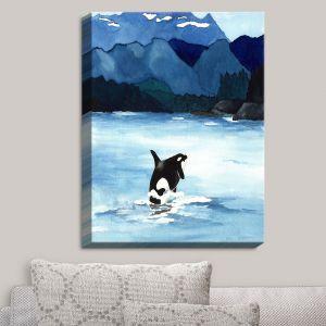 Decorative Canvas Wall Art | Brazen Design Studio - Orca Beach | Killer Whale Mountains Ocean Nature