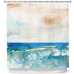 Premium Shower Curtains | Brazen Design Studio - Sunny Days | Abstract Landscape Ocean