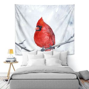 Artistic Wall Tapestry | Brazen Design Studio - Winter Cardinal