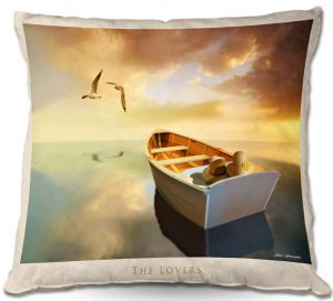 Throw Pillows Decorative Artistic | Carlos Casamayor - The Lovers Birds and Boats