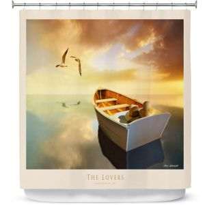 Premium Shower Curtains | Carlos Casamayor - The Lovers Birds and Boats