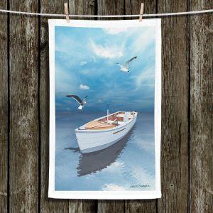 Unique Hanging Tea Towels | Carlos Casamayor - Blue Dream III | Boat Birds Water