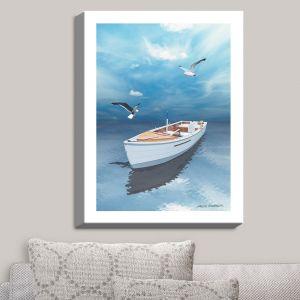 Decorative Canvas Wall Art | Carlos Casamayor - Blue Dream III | Boat Birds Water