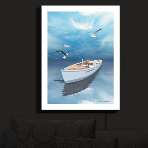 Nightlight Sconce Canvas Light | Carlos Casamayor - Blue Dream III | Boat Birds Water