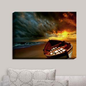 Decorative Canvas Wall Art | Carlos Casamayor - Soft Sunrise On The Beach IX | Beach Boat Canoe