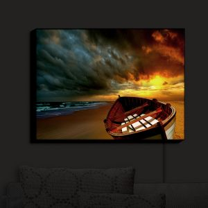 Nightlight Sconce Canvas Light | Carlos Casamayor - Soft Sunrise On The Beach IX | Beach Boat Canoe