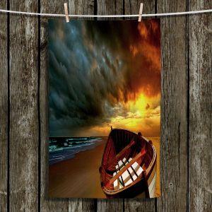 Unique Hanging Tea Towels | Carlos Casamayor - Soft Sunrise On The Beach IX | Beach Boat Canoe