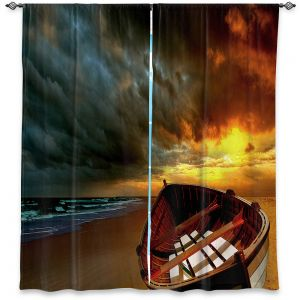 Unique Window Curtain Lined 40w x 82h from DiaNoche Designs by Carlos Casamayor - Soft Sunrise On The Beach I