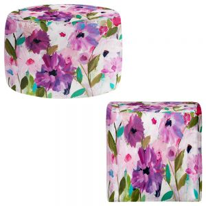 Round and Square Ottoman Foot Stools | Carrie Schmitt - Blossoming Flowers