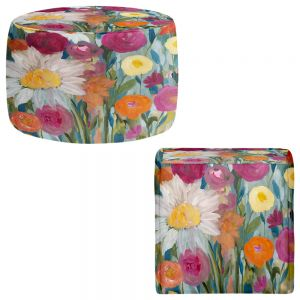 Round and Square Ottoman Foot Stools | Carrie Schmitt - Earth at Daybreak Flowers