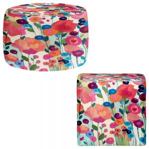 Round and Square Ottoman Foot Stools | Carrie Schmitt - Howd You Get So Pretty Flowers