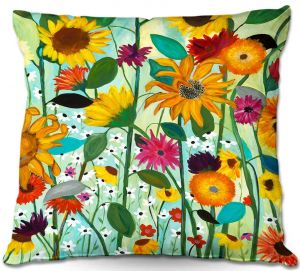 Unique Outdoor Pillow 16X16 from DiaNoche Designs by Carrie Schmitt - Sunflower House