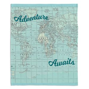 Decorative Fleece Throw Blankets | Catherine Holcombe - Adventure Awaits | Map typography