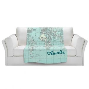 Artistic Sherpa Pile Blankets | Catherine Holcombe - Adventure Awaits | Map typography