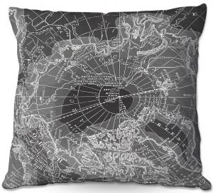 Decorative Outdoor Patio Pillow Cushion | Catherine Holcombe - Arctic Dark Gray Map