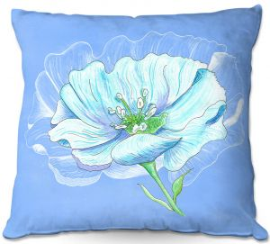 Decorative Outdoor Patio Pillow Cushion | Catherine Holcombe - Blue Flower
