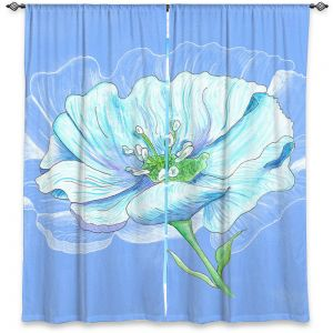 Unique Window Curtains Lined 40w x 52h from DiaNoche Designs by Catherine Holcombe - Blue Flower