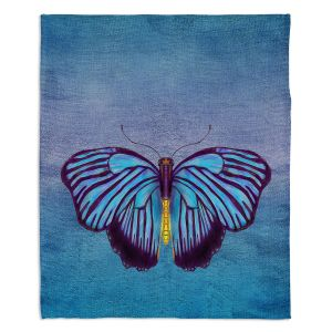 Decorative Fleece Throw Blankets | Catherine Holcombe - Butterfly Blues | Nature insect