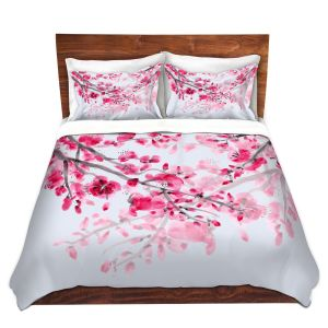 Unique Duvet Twill Queen set from DiaNoche Designs by Catherine Holcombe - Cherry Blossom