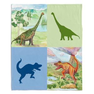 Decorative Fleece Throw Blankets | Catherine Holcombe - Dinosaur Collage