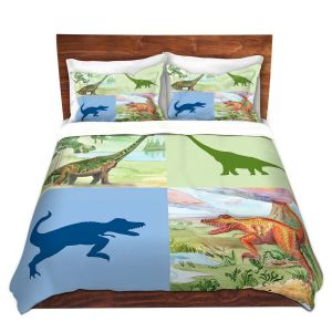 Artistic Duvet Covers and Shams Bedding | Catherine Holcombe - Dinosaur Collage