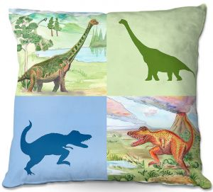 Throw Pillows Decorative Artistic | Catherine Holcombe - Dinosaur Collage