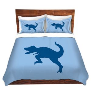 Artistic Duvet Covers and Shams Bedding | Catherine Holcombe - Dinosaur I Blue