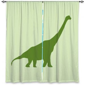 Unique Window Curtain Unlined 40w x 82h from DiaNoche Designs by Catherine Holcombe - Dinosaur I Green